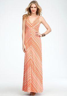 Striped V-Neck Maxi Dress - Hot Coral/Cement - Xs