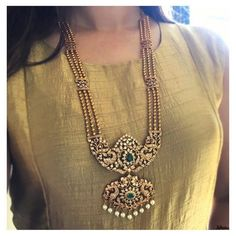Ethnic Long Necklace From Zahana ~ South India Jewels Jewelry Design Earrings, Gold Earrings Designs, Gold Jewellery Design, Necklace Designs, Jewelry Designer, Indian Jewelry Sets, Indian Wedding Jewelry, Bridal Jewelry, South Indian Jewellery
