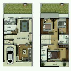 Pinterest: @claudiagabg   Townhouse 2 pisos 3 cuartos