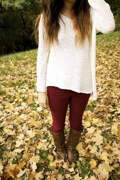 White sweater, marroon jeggings, boots! <3
