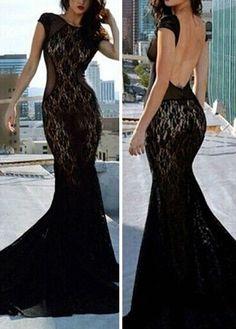 LACE CAP SLEEVE MERMAID DRESS BLACK LARGE #Unbranded #Maxi #Clubwear