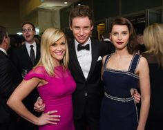 Reese Witherspoon (left), Eddie Redmayne (center) and Felicity Jones attend the 6th Annual Governors Awards in The Ray Dolby Ballroom   See more photos here: http://www.redcarpetreporttv.com/2014/11/10/its-official-awards-season-has-started-the-academys-2014-governors-awards-honors-harry-belafonte-maureen-ohara-hayao-miyazaki-and-jean-claude-carriere-theacademy-governorsawards-photos/