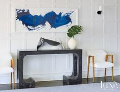 When including wall art in a vignette, make sure to hang the artwork a little low so it reads as part of the grouping.