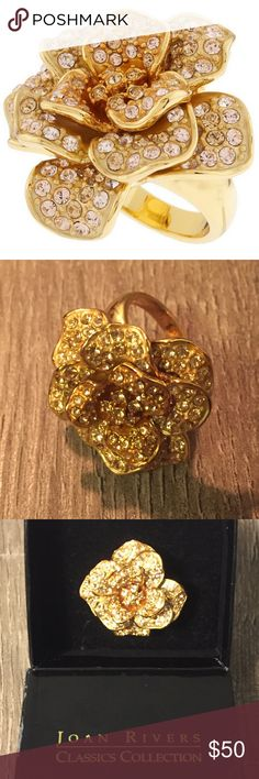 Joan Rivers Pretty Petals Crystal Flower Ring NEVER WORN Size: 10.5 Comes with Original Box Joan Rivers Jewelry Rings