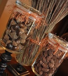 glue glass jars to wooden stands and fill with seasonal decor