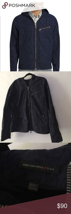 John Varvatos blue jacket XXL , with hoodie. In Great condition, love the kind a blue camouflage print. Hasn't been worn .No rips or stains . 26 inches from armpit to armpit, 27 inches long, the sleeves measure 21 inches from the inside part of the sleeve, all measurements are approximately, and were taken laying flat. John Varvatos Jackets & Coats Lightweight & Shirt Jackets