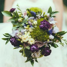 Purple and white and green bridal bouquet