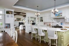 Trey ceiking panelled and painted complimentary color. Nice layout and room divider traditional kitchen by RLH Studio