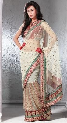 Gorgeous Ivory Embroidered Saree