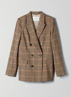 This is a double-breasted blazer with menswear-inspired tailoring. It's made with Japanese yarn-dyed fabric, which means the pattern is woven right into the design. Blazer Outfits Casual, Blazer Outfits For Women, Mens Fashion Blazer, Plaid Fashion, Dress Outfits, Checked Blazer, Plaid Blazer, Blazer Dress, Men Blazer