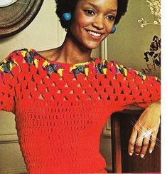 Vintage Crochet Pattern - Shell Red Blouse Sweater Pattern - PDF Instant Download - Dress Sweater Top - Digital Pattern - Peek a Boo Crochet