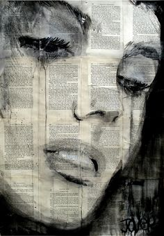 "Saatchi Online Artist: Loui Jover; Pen and Ink, Drawing ""solitude"" white paint and charcoal self portraits!"