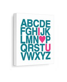 I Love You Alphabet Canvas Print - Teal & Pink
