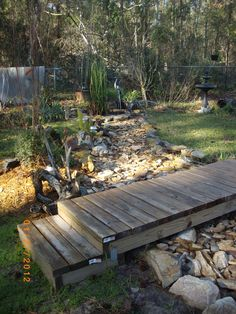 The dry creek bed I am working on in backyard