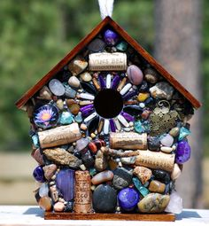 Mosaic Garden Birdhouse with Wine Corks and Stones