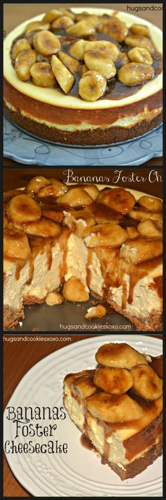 Bananas Foster Cheesecake I Cant Live Another Day On This Earth Without Having This Christina Cheesecake Recipes, Dessert Recipes, Banana Cheesecake, Bananas Foster Cheesecake Recipe, Banana Foster Recipe, Cheesecake Squares, Banana Dessert, Cheesecake Cookies, Picnic Recipes