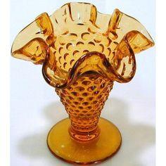 GL191   Fenton small hobnail amber glass ruffled vase: Home  25 cents