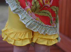 Sunshine yellow knit double ruffle shorts shorties sizes 12m - 8 girls