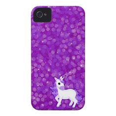 Purple Unicorn on Glitter Pattern iPhone 4 Cases