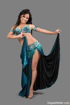 Blue beautiful belly dance costume