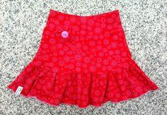 Rock Röckli Stufenrock Gr. 92/98, Blumen, pink von kleine Kuschelrobbe auf DaWanda.com