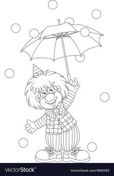 Clown with an umbrella vector image on VectorStock Coloring Books, Coloring Pages, Carnival Games For Kids, Disney Cookies, Poster Drawing, Cross Stitch For Kids, Black Wallpaper Iphone, Alphabet For Kids, Outline Drawings