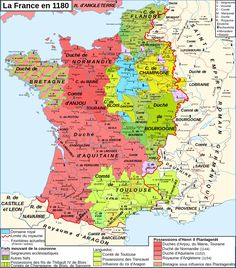France in 1180 was dominated by England & Burgundy; the duke of Burgundy was far more powerful than the king of France, who controlled only the domaine royal around Paris: French History, European History, World History, Vintage Maps, Antique Maps, Map France, Templer, Historical Maps, Old Maps