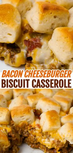Bacon Cheeseburger Biscuit Casserole is an easy ground beef dinner recipe loaded with diced onions, condensed cheddar cheese soup, ketchup, mustard, crumbled bacon and shredded cheese all topped with pieces of Pillsbury biscuits. recipes with ground beef Beef Casserole Recipes, Casserole Dishes, Chicken Biscuit Casserole, Soup Recipes, Bacon Cheeseburger Casserole, Pasta Recipes, Salad Recipes, Vegan Recipes Easy, Salads