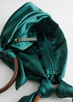 Satin Scarf O-Ring Bag - Dark Green - Party bags - & Other Stories Japanese Bag, Tan Shoulder Bag, Scarf Rings, Simple Bags, Party Bags, Green Bag, Vintage Bags, Fashion Bags, Sneakers