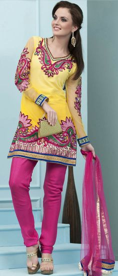 #Yellow and #Pink Cotton #Churidar Kameez @ $ 173.30