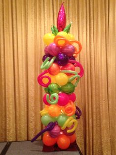 Balloon Column with marble balloons in bright vivid colors.
