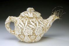 """Tea pot as art - Donna Rhae Marder's sewn lace and wire teapots, this is the """"Oval Geometric Lace Teapot"""" Fabric Art, Lace Fabric, Diva Design, Textiles, Teapots And Cups, Chocolate Pots, High Tea, Textile Art, Fiber Art"""