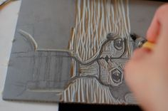 carving linoleum for stamping