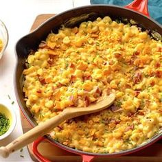 Skillet Mac & Cheese Recipe -You could use salt and pepper to taste, but we don't feel it needs it. This is so simple it seems almost too easy! You'll love it and want to fix it often. Kids really go for the rich cheesy flavor. —Ann Bowers, Rockport, Texas