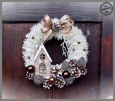 White and blue Christmas wreath, Blue and silver door wreath, Deer Christmas wreath, White natural wicker wreath with decor, Holiday Wreath Pink Christmas Decorations, Christmas Door Wreaths, Christmas Arrangements, Christmas Centerpieces, Holiday Wreaths, Diy Christmas Gifts, Christmas Projects, Christmas Ornaments, Silver Christmas