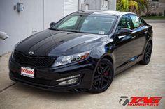 Not gonna lie: for a Kia Optima, this looks pretty cool. Blacked out. Kia Optima Turbo, Kia Optima K5, My Dream Car, Dream Cars, Old School Cars, Car Goals, Black Rims, Twin Turbo, My Ride