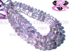Pink Amethyst Faceted Roundel (Quality A+) Shape: Roundel Faceted Length: 18 cm Weight Approx: 15 to 17 Grms. Size Approx: 6.5 to 8.5 mm Price $19.60 Each Strand