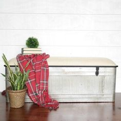 Metal Storage Bench With Fabric Top | Antique Farmhouse