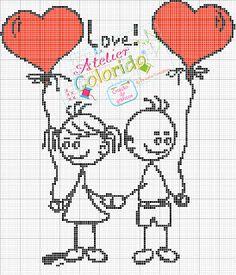 Couple cross stitch chart (Valentine) - several more