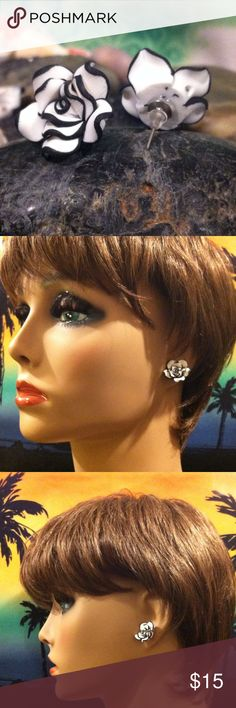 """Wholesale Listing 5 for $15 For Resale This is at wholesale prices! You get 5 pairs for $15 only $3 Each! These Retail at $8 to $12.   3/4"""" Round Stud Earrings. Made of Fimo Clay.  Black and White Flower Earrings. Brand New. Fun and Flirty! Jewelry Earrings"""