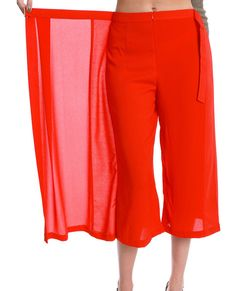 (Non-stretchy dressy cropped length wide-leg pants feature wrap effect side apron overlay with D-rings closure on waist)