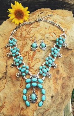 COWGIRL Bling Southwest Turquoise SQUASH BLOSSOM Western Gypsy NECKLACE SET #cc