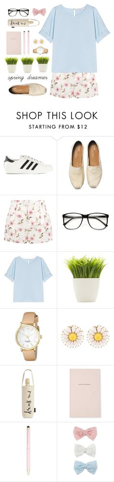 """s p r i n g d r e a m e r"" by adinaking ❤ liked on Polyvore featuring adidas Originals, TOMS, RED Valentino, Alexander Terekhov, Dot & Bo, Kate Spade, Wild & Wolf and Decree"