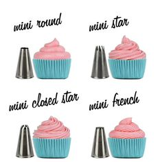 MINI Cupcake Decorating Tip Set from Layer Cake Shop! Includes, Round, Star, Closed Star and French! http://www.layercakeshop.com/products/mini-cupcake-decorating-tip-set