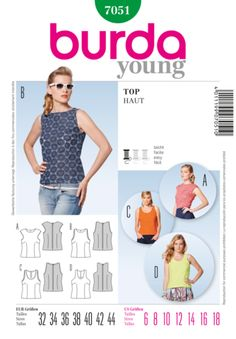 Burda Pattern: BD7051 Misses Top | Easy — jaycotts.co.uk - Sewing Supplies