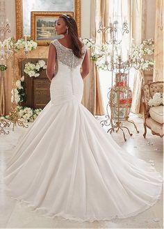 comprar Vestidos de novia de organza impresionantes Tamaño Scoop escote sirena Plus con bordado con cuentas de descuento en Dressilyme.com