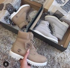 Pinterest: dopethemesz ; classy nude aesthetic; Nude timbs white timberlands