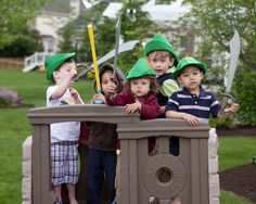 Peter Pan hats and swords for the boys at a Disney Fairy party