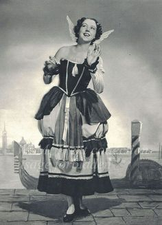 "Gilbert and Sullivan 1939 ~ Helen Roberts [1912 - 2010] as Gianetta in The Gondoliers.  ""Thank you, gallant gondolieri! in a set and formal measure"""