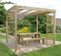 This contemporary Dining Pergola has panels which can be moved to suit your garden. See more at http://www.wonkeedonkeeforestgarden.co.uk/forest-dinperghd-dining-pergola-with-panels-hd.html